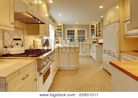 Yellow Cream White Luxury Kitchen