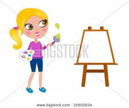 Cartoon Happy Little Painter Girl With Paint Brush.