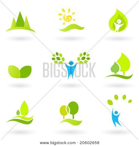Baum, Blätter und Ökologie Vector Icon Set (blau und grün).