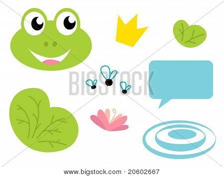 Cute Frog Queen Icons - Isolated On White.