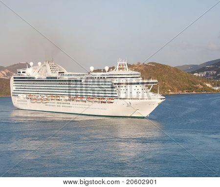 Massive Luxury Cruise Ship In St. Thomas Bay