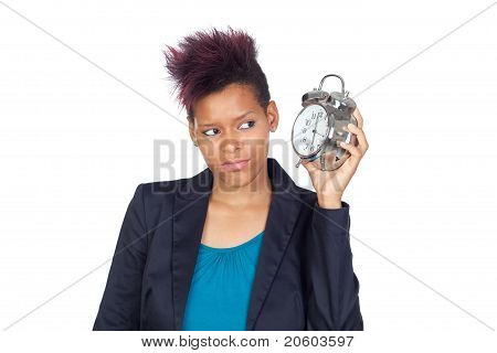 African Girl With A Big Clock