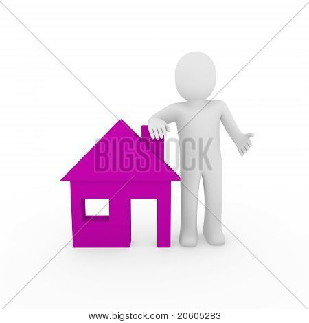 3D Man House Purple