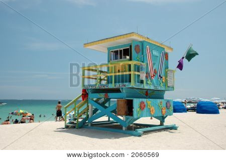 Blue Art Deco Lifeguard Tower In South Beach