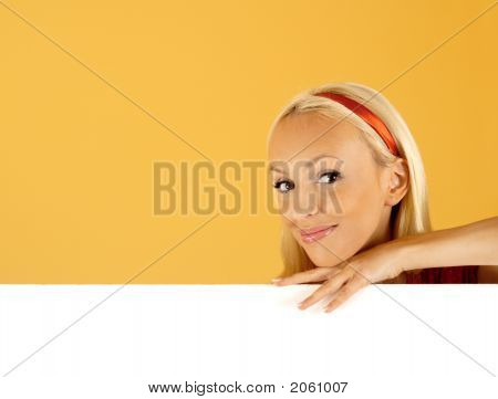 Beauty Woman And Blank Sign