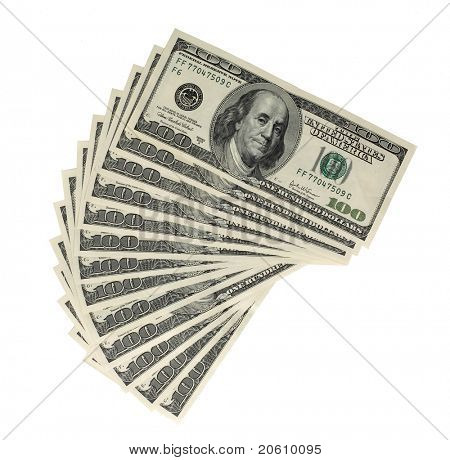 American money in 100 bills piled high and waiting to be picked
