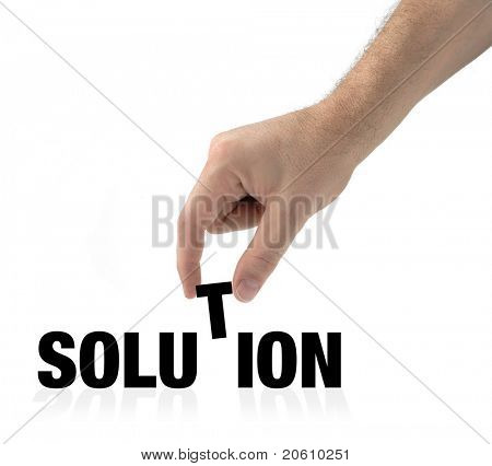 Hand and word solution isolated on white creating a concept