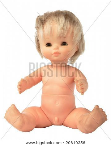 Caucasican Weird Doll isolated on white