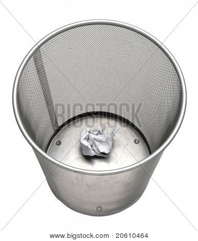 one paper trash can isolated on white background
