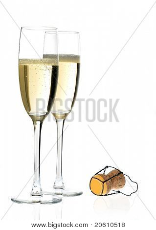 Pair of champagne flutes and cork