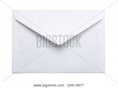 isolated white paper envelope