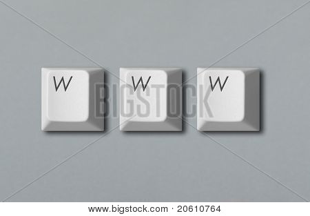 """www"" written with computer keys isolated on grey background"