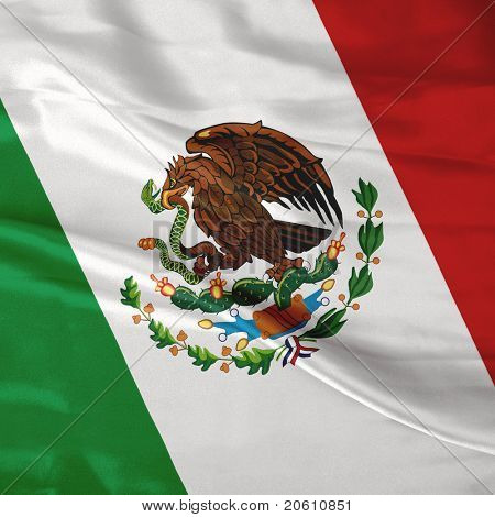satin Mexican flag