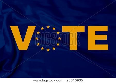 Satin Europa flag and word vote