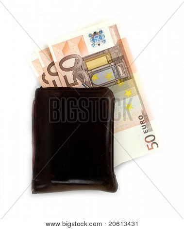 Wallet with Euro bills inside