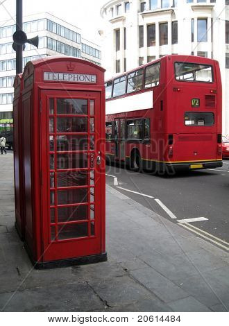British red phone booth and Red Bus