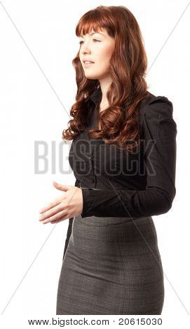 Attractive young woman shaking hand isolated on white