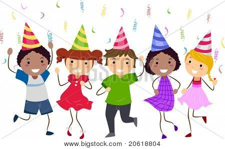 Illustration of Kids Having a Dance Party