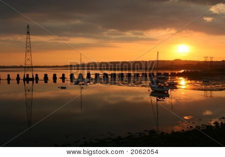 Sunset over Langstone Harbour : Bigstock