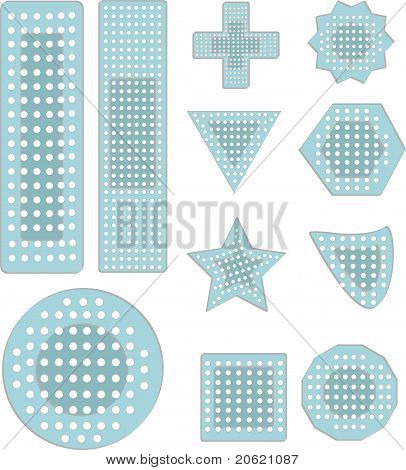 A collection bandaid icons in various shapes sizes
