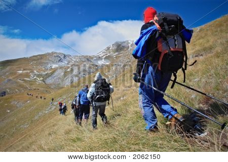 Alpine Expedition Going Towards The Peak Korab