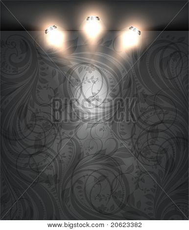 Empty black storefront with black seamless floral flower background. You can change colors for the background, eps10 vector