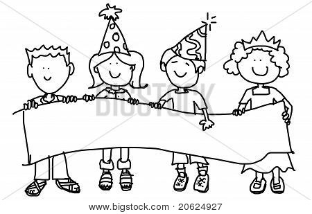 Party Hat Kids With Banner