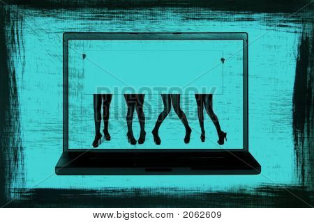 Grunge Sign Of Women'S Legs In A Laptop