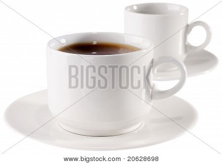 Cup Of Coffee And Empty Cup