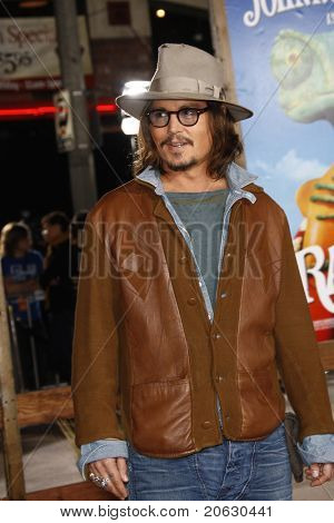 LOS ANGELES - FEB 14:  Johnny Depp arrives at the Premiere of 'Rango' held at the Regency Theatre on February 14, 2011 in Westwood, Los Angeles, CA