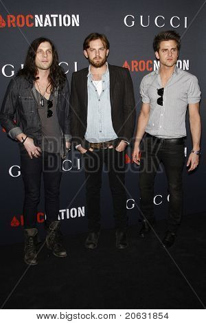 WEST HOLLYWOOD - FEB 12:  Nathan Followill, Caleb Followill, Jared Followill arriving at the Gucci and RocNation Pre-GRAMMY Brunch held in West Hollywood, California on February 12, 2011.