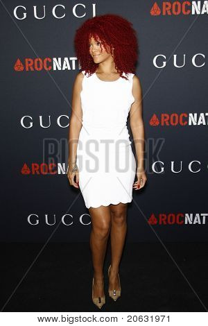 WEST HOLLYWOOD - FEB 12:  Rihanna arriving at the Gucci and RocNation Pre-GRAMMY Brunch held in West Hollywood, California on February 12, 2011.
