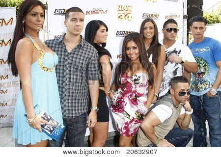 "LOS ANGELES - JUL 11: The cast of ""Jersey Shore"" arrives at the KIIS-FM 'Now 34 and The Jersey Shore' party on July 11, 2010 at Hollywood Tower, Los Angeles, California."