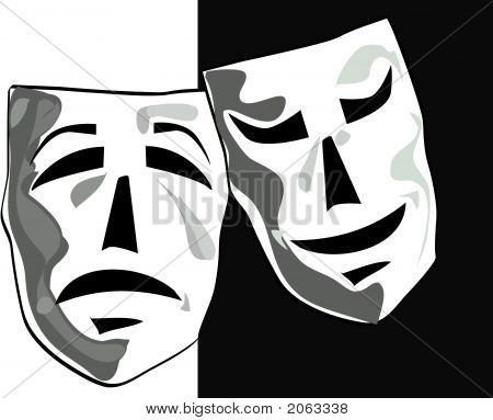 Illustration Of Theater Masks.