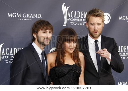 LAS VEGAS - APR 03: Lady Antebellum - Dave Haywood, Hillary Scott, Charles Kelley arriving for the 46th Academy of Country Music Awards at the MGM Grand Hotel Casino in Las Vegas, Nevada on April 3, 2011.