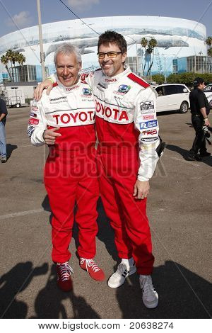 LOS ANGELES - APR 7:  Alex Trebek and Tim Daly attending the press day for the Toyota Pro/Celebrity Race in Long Beach, California on April 7, 2009.