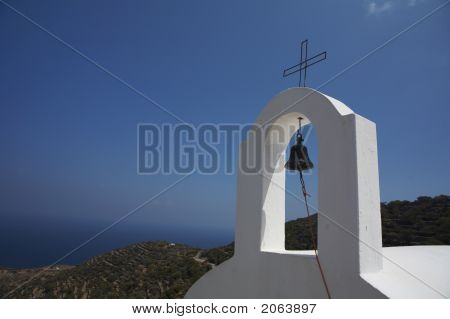 Greek Church With Beautiful Darf Blue Sky