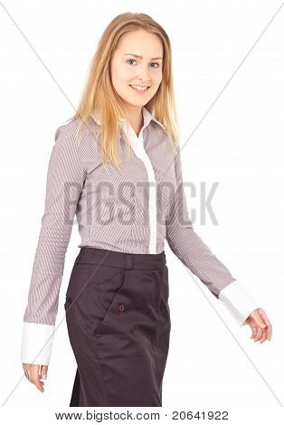Young Business Woman Walking