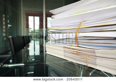 Files On Meeting Room Desk