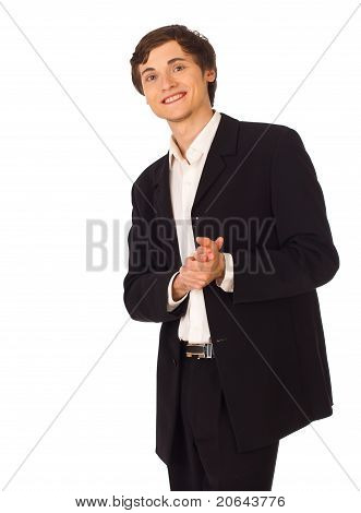 Young Business Man Applauds