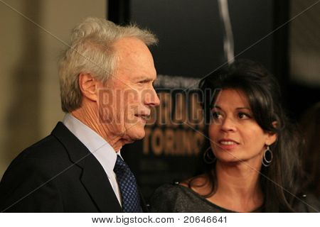BURBANK - DEC 9: Clint Eastwood and wife Dina Ruiz at the world premiere of 'Gran Torino' at the Steven J Ross Theater in Burbank, California on December 9, 2008.