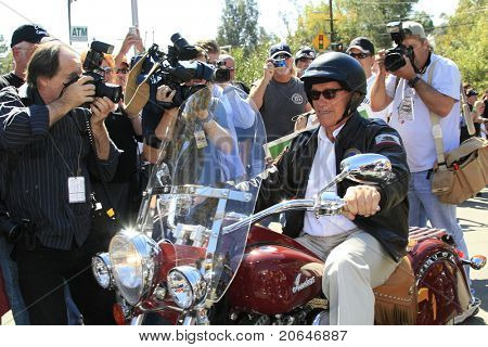 TRABUCO CANYON, CA - OCT 21: Governor Arnold Schwarzenegger arrives to campaign at a biker rally held in support of U.S. troops & their families, in Trabuco Canyon, CA on October 21, 2006.