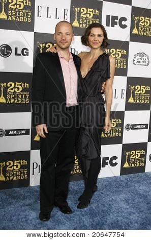 LOS ANGELES - MAY 5: Peter Sarsgaard, wife Maggie Gyllenhaal at the 25th Independent Spirit Awards held at the Nokia Theater in Los Angeles on March 5, 2010.