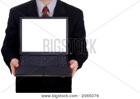 Businessman Holding A Laptop