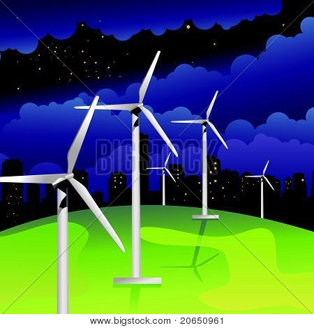 wind mills energy vector illustration