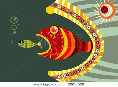 Background with decorative fishes