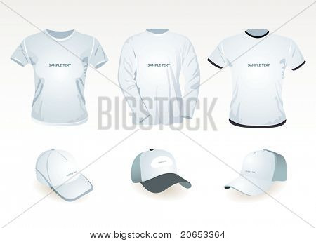 t-shirt  template and cap
