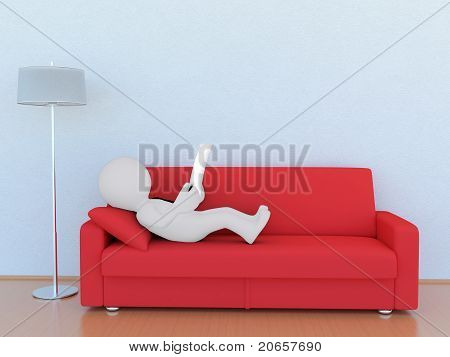 3D man on the red sofa
