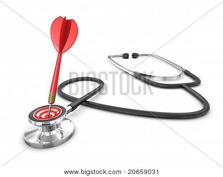 Success Diagnosis Concept With Stethoscope And Dart