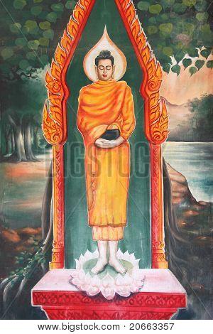 Mural of Buddha biography